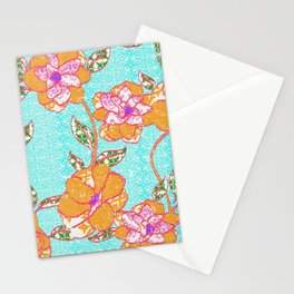 Crayon Bright Orange Flowers on Turquoise Stationery Cards
