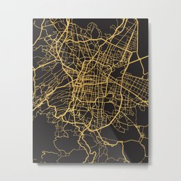 MEXICO CITY GOLD ON BLACK CITY MAP Metal Print