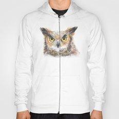 Great Horned Owl Watercolor Hoody