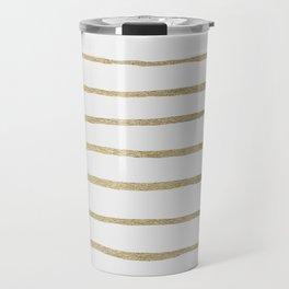 Gold Stripes Travel Mug