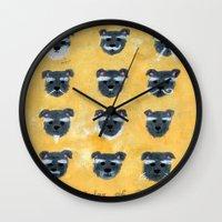 schnauzer Wall Clocks featuring Schnauzer by Sonia Ku