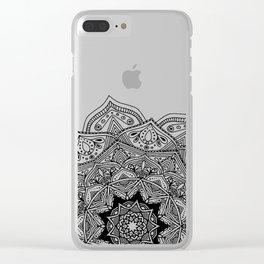 paisley black and white hippie boho mandala Clear iPhone Case