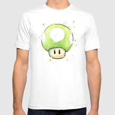 1UP Green Mushroom Painting Mario Gaming Geek Videogame Art White Mens Fitted Tee 2X-LARGE