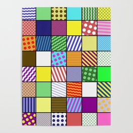 Retro Patchwork - Abstract, geometric, patterned design Poster