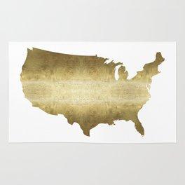 US map gold foil Rug