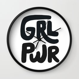 Grl Pwr black and white Wall Clock