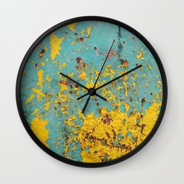 yellow and blue worn paint and rust texture Wall Clock