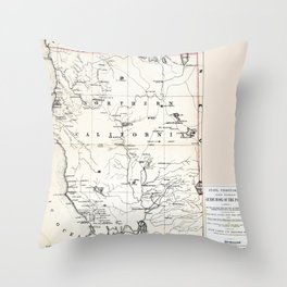 Northern California Map 1866 Throw Pillow