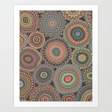 Boho Patchwork-Vintage colors Art Print