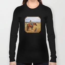 Young Cowgirl on Cattle Horse Long Sleeve T-shirt
