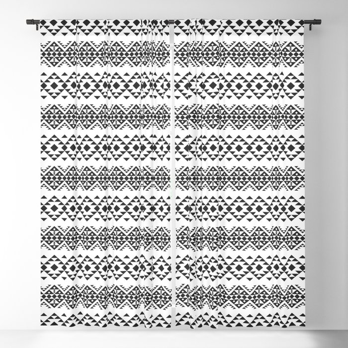 Native American Ethnic Pattern BW Color Blackout Curtain by dimasadi