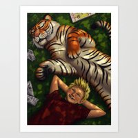 calvin and hobbes Art Prints featuring Calvin and Hobbes by Brianna Hoftun