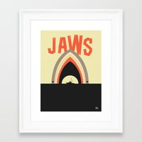 jaws Framed Art Prints featuring Jaws by Ryder Doty