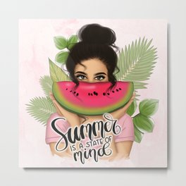 Summer Is A State Of Mind | Girl With Watermelon Metal Print
