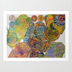 7 Monkeys Orbiting Cosmic Knowledge Art Print