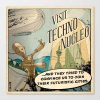 techno Canvas Prints featuring Techno Nucleo by Alex.Raveland...robot.design.digital.art