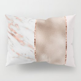 Rose metallic striping - marble and blush Pillow Sham