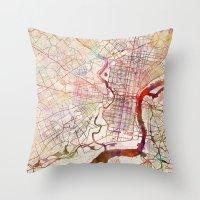 philadelphia Throw Pillows featuring Philadelphia by MapMapMaps.Watercolors