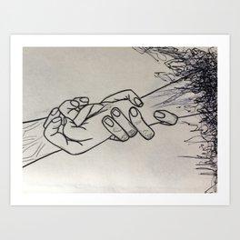 Reach together Art Print