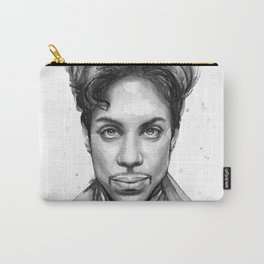 Prince Musician Portrait Watercolor Black and White Carry-All Pouch
