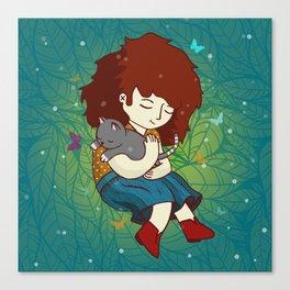 Violeta y gatico Canvas Print