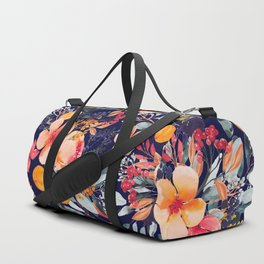 Navy Floral Duffle Bag
