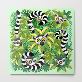 Lemurs on Madagascar Rainforest Metal Print