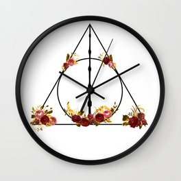 Deathly Hallows in Red and Gold Wall Clock