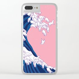 Llama Waves in Pink Clear iPhone Case
