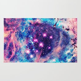 Trendy Pastel Pink Blue Nebula Girly Stars Galaxy Rug