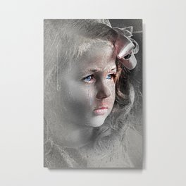 Girl with Bow Metal Print