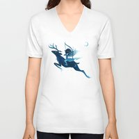 elf V-neck T-shirts featuring Elf Archer by Freeminds