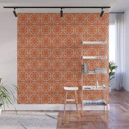 Southwestern Sun Mandala Batik, Coral Orange Wall Mural