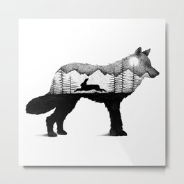 THE WOLF AND THE RABBIT Metal Print