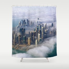 Doha Quatar Cityscape From Above The Clouds Ultra HD Shower Curtain