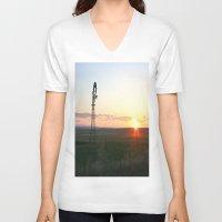montana V-neck T-shirts featuring Montana Sunset by Kim Ramage