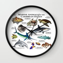 Marine Animals of the Caribbean Ocean Wall Clock