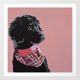 Black Standard Poodle in Pink Art Print