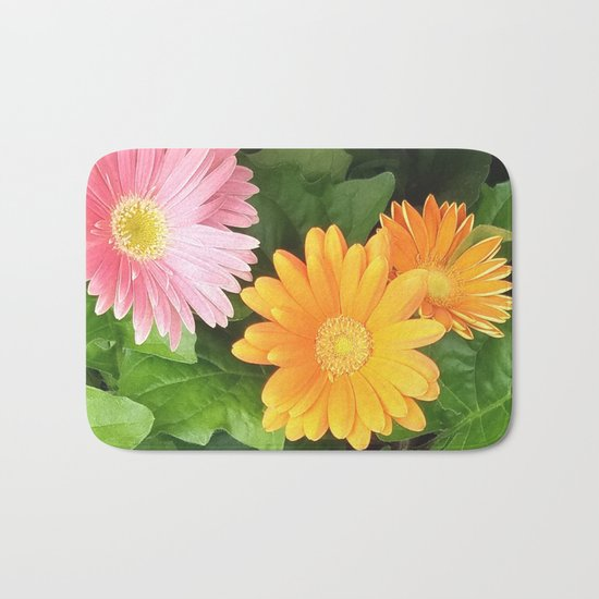 Summer Flowers Pink Yellow Orange Bath Mat