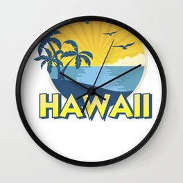 Vintage Hawaii Aloha Island Surfing 70s Retro Wall Clock