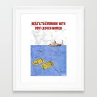 jaws Framed Art Prints featuring JAWS by Adam Doyle