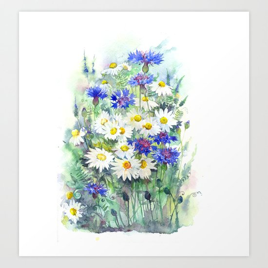 Watercolor chamomile and cornflowers Art Print