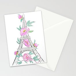 Eiffel tower and peonies Stationery Cards