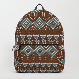 Mudcloth Style 2 in Brown and Teal Backpack