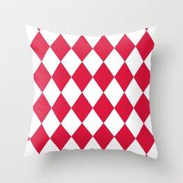 Rhombus (Crimson/White) Throw Pillow