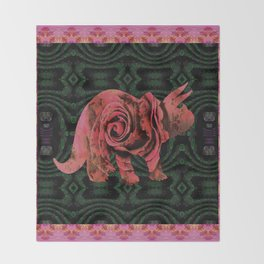 Vintage Rose 1960s Pink Dinosaur Print Throw Blanket