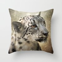 snow leopard Throw Pillows featuring Snow Leopard by Jai Johnson