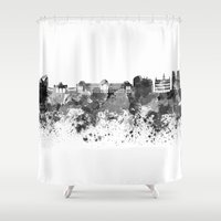 brussels Shower Curtains featuring Brussels skyline in black watercolor by Paulrommer