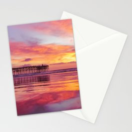 Pink, Blue & Orange Sunset with Low Tide Ocean Water Reflection Stationery Cards