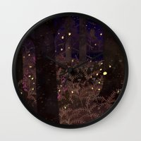fireflies Wall Clocks featuring fireflies by Lara Paulussen